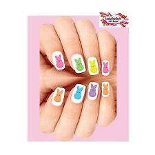 Waterslide Nail Decals Set of 20 - Colorful Easter Marshmallow Bunnies Assorted