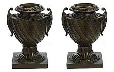 Two 17 inch Fiberglass Urn with Handles Black Bronze Pot Planter Container Vase