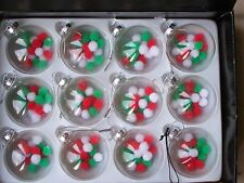 12 x 80mm clear glass Christmas baubles Con Rosso Verde & White e Pompon Palle