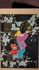 "20c CHINESE GOUACHE ON PAPER""AN OLD MAN WITH A BOY AND BIRDS"",SIGNED,MATTED"