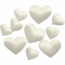 Small Ivory Satin Hearts - Padded Decoration - 2 Sizes 70 Pieces Craft Card Gift