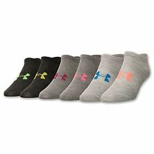 Women's Under Armour Solid 6-Pack No Show Socks Heather Grey  NEW WITH TAGS