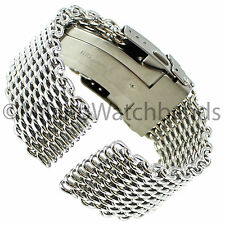 22mm Milano Stainless Steel Solid Shark Mesh Push Button Divers Clasp Watch Band