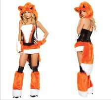 Women Sexy Fox Big Bad Animal Hoodie Cosplay Fancy Dress Halloween Costumes Kit