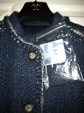 CHANEL12A ACT1 NEW TAGS WINTER Wool Tweed Mohair Blue Silver Trim Coat FR38 $11K