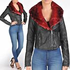 NEW LADIES WOMEN BLACK PU BIKER FUR COLLAR JACKETS CROP LEATHER PVC BOMBER LOOK