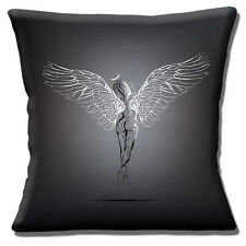 "BACK OF NAKED WOMAN ANGEL & WINGS TATTOO STYLE OUTLINE 16"" Pillow Cushion Cover"