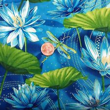 DANCE OF THE DRAGONFLY WATERLILY POOL BLUE 100% COTTON FABRIC FAT QUARTER