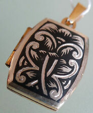 Butterfly l0.925 Opening Locket Silver Pendant Gilded Niello Russia Locket