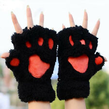Soft Winter Warm Women Paw Gloves Fingerless Fluffy Bear Cat Plush Paw Chic HOT