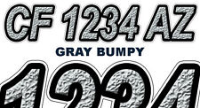 BUMPY TEXTURE Boat Registration Numbers PWC Decals Stickers Graphics CF, NV AZ..
