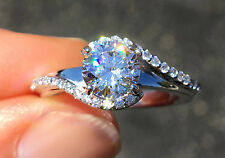 1.5 ct Center With Pave Swirl Top Russian AAAAA CZ  Moissanite Simulant Size 8