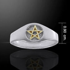 PENTACLE Ring .925 Sterling Silver w/ 18K Gold accent Sz 8 shadow PENTAGRAM ring