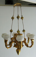 Antique German miniature dollhouse Erhard & Söhne Ormolu large gas chandelier