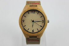 Edle Unisex Holzuhr Armbanduhr Lederarmband Bambus Uhr Holz mit Box u. Kissen