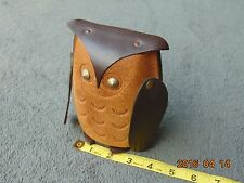 CUTE Vintage Leather OWL Figurine Case Bank UNUSUAL Neat Steam Weird