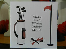 Personalised Handmade Golf Birthday Card - Uncle, Friend, Brother, Husband