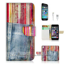 iPhone 7 PLUS (5.5') Flip Wallet Case Cover P1397 Abstract Jeans