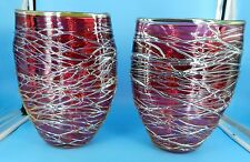 Incredible LINDA ALLYN Signed PAIR OF CRANBERRY Art Glass SPUN GOLD VASES HORNBY