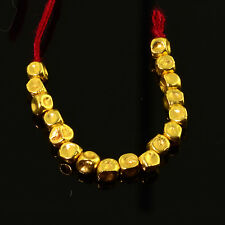 18k Solid Yellow Gold Dimpled Round 2.8mm Drum Spacer Beads 2 inch Strand