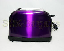 2 Wide Slice Electric Toaster Browning Control Crumb Tray Breakfast Bread PURPLE