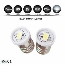 2X E10 Led Flashlight Replacement Bulb Torches Dashboard Lamp Light White 3V DC