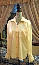 VINTAGE ESCADA by MARGARETHA LEY SHIRT BLOUSE CREAM 100% SILK SZ 48 GERMANY LACE