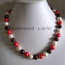 "18"" 10-12mm White Coffee Red Freshwater Pearl Necklace Jewelry UK"