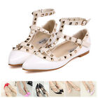 Women T-strap Studded Rivet Metal Flat Pointed Toe Shoes Single Sandals Shoes