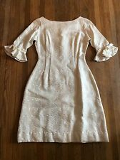 Vintage 1960s Kelly Arden tapered Cream Floral Metallic Womens Mod Retro Dress S