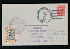 POLAND WW2 1943 USAPS POSTMARK on GB KG6 + TANK MAN FPO SEAL...AMERICAN LANDING