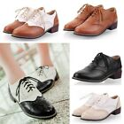 Retro Oxford Womens College Lace Up Low Heels Brogues Wingtip Multi Colors Shoes
