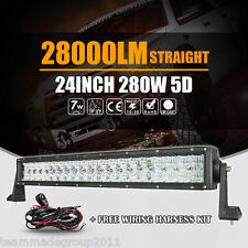 "5D Cree 280W 22inch 24"" LED Light Bar Spot Flood Offroad Car Lamp Pickup SUV UTE"