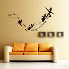 New Tinkerbell Second Star To The Right Peter Pan Wall Sticker Kids Room Decor