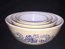 Vintage Pyrex Homestead Navy Blue & Tan  Nesting Mixing Bowls Set of 4 - NICE!