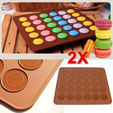 2x Silicone Macaroon Pastry Cake Cookies Baking Sheets Mat Mould Molds Coffee TS