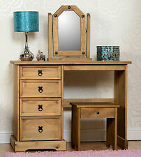 Corona Distressed Waxed Pine 4 Drawers Dressing Table with Stool & Mirror