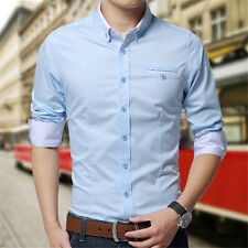 Mens Casual Double Collar Slim Fit Button Down Shirts Shirt Long Sleeve DC11