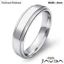 Flat Step Solid Ring Men Wedding Plain Band 5mm 14k White Gold 5.5gm Size 9-9.75