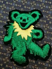 GRATEFUL DEAD DANCING BEAR GREEN/YELLOW Iron or Sew-On Patch