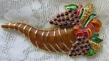 VINTAGE MONET GOLD TONE ENAMEL THANKSGIVING FALL CORNUCOPIA GRAPES BROOCH PIN
