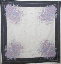"TERRIART Navy, Lavender, Blue, Cream Daisies Chiffon 34"" Square Scarf-Vintage"