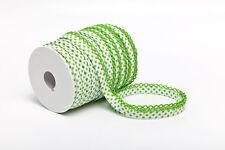 1 m Schrägband weiß mit hellgrünen Punkten und Häkelborte
