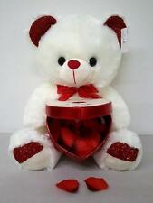 Big Cute Soft Valentine Bear Holding Red Heart Box for Chocolate Flower Gift 15""