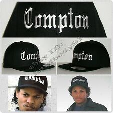 NEW Black Eazy E Compton Snapback Hat Cap NWA Straight Outta Authentic Replica