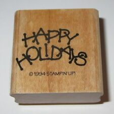 Happy Holidays Rubber Stamp New Christmas Stampin' Up! Wood Mounted Retired