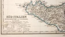 L'ITALIE ITALIA DU SUD SARDAIGNE SICILE carte geographique ancienne 1875