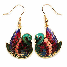 GOLD PLATED CLOISONNE SWAN EARRINGS Love Birds Green Enamel Pair Dangle Jewelry