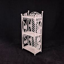 Vintage 1/12 Scale White Wrought Iron Wire Doll Furniture 3 Tier Patio Shelf