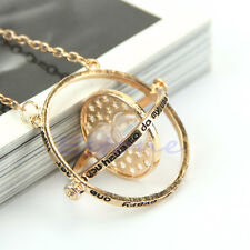 Time Turner Necklace Hermione Granger Rotating Spins Gold Hourglass